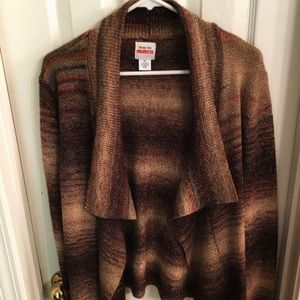 Ruby Rd Sweater Open Front Striped Knit Cardigan